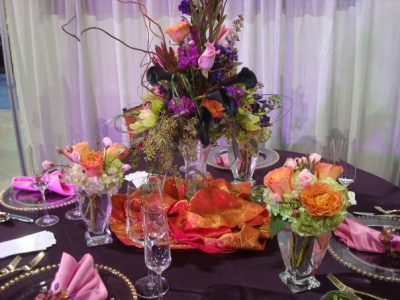 Purple Wedding Table Decorations On Show Orange And Reception 300x225 Las Vegas