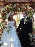 bride and groom at gazebo