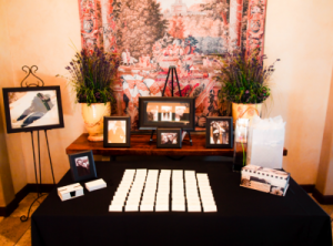 Anthony and Ally Wedding entrance table Photo by J. Frady 300x222 Create a Cute Way to Finish Thank You Notes Faster for your Wedding Day