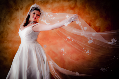 Las Vegas wedding photography, image of bride in veil