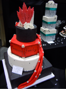 Red, black, and white Passion Wedding Cake