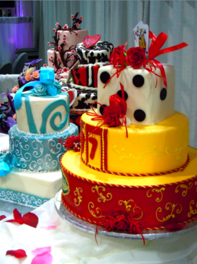 Las Vegas wedding cake with dice and playing cards