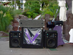 Good Vibrations DJ booth at Las Vegas wedding