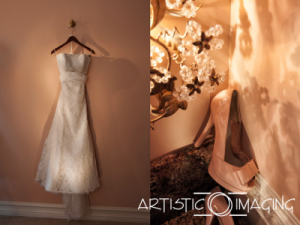 bridal gown hangs on wall, shoes sparkle in the light