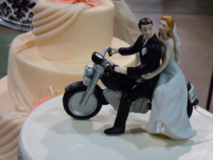 Bride and Groom riding a motorcycle_Cake Topper