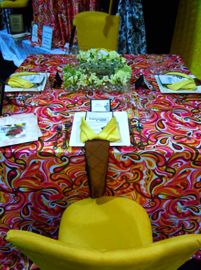 Psychedelic Pink Paisley Pattern, Yellow Chairs, Reception Table