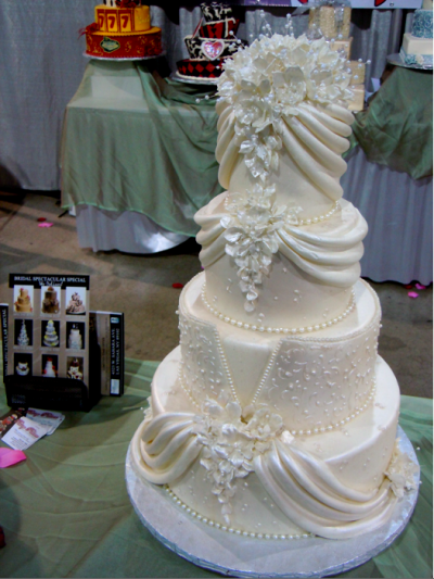 traditional, tiered, white wedding cake with details of bride's dress