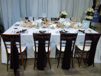 reception table with white tablecloth, brown silk on chiavari chairs, wooden centerpiece