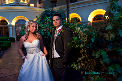 bride in sweetheart gown and groom in gray suit with intriguing tie