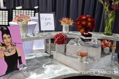 Lanvin Paris table display with Audrey Hepburn photo