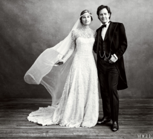 Lauren Bush and David Lauren in wedding portrait