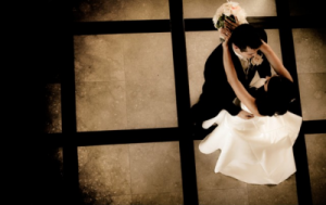 bride and groom dancing_birds eye view