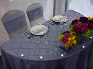 sweetheart table with lavender linens