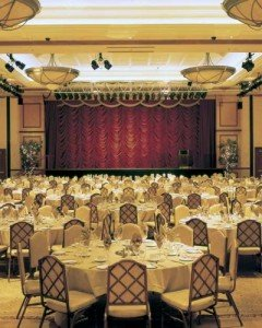 Dallas Ballroom with stage and tables