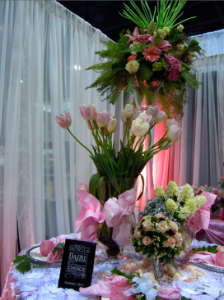 White Orchid booth display, centerpieces