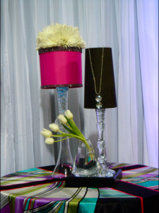 Pink and black lamp venue decor Bridal Show vendor 2012 225x300 Las Vegas brides, discover your wedding registry style!
