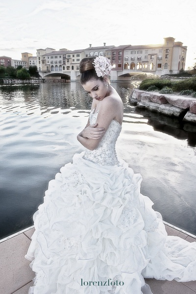 bride by lakeside villa