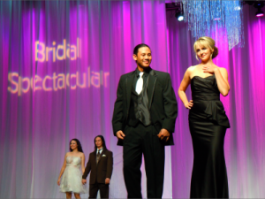 Bridal Spectacular fashion show Jan. 2012 black dress by Davids Bridal tux by Mens Wearhouse Photo by Allyson Siwajian 300x225 Wedding planning dreams will come true at Bridal Spectacular's bridal show, coming August 2012