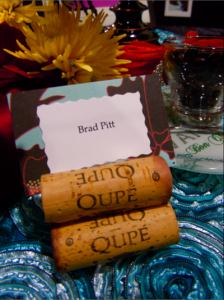 cork pyramid with place card