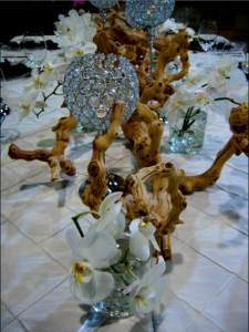 driftwood and crystal centerpiece