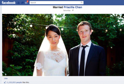 Facebook timeline Mark Zuckerberg marries Priscilla Chan