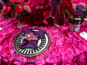 pink and purple place setting