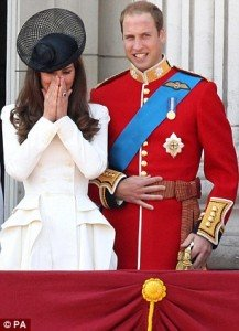 Duchess Kate and Duke William with sword