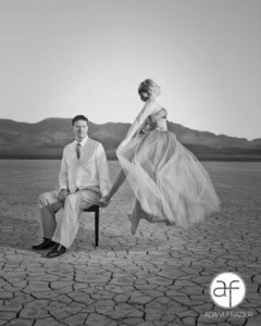 dry lake bed with flying bride