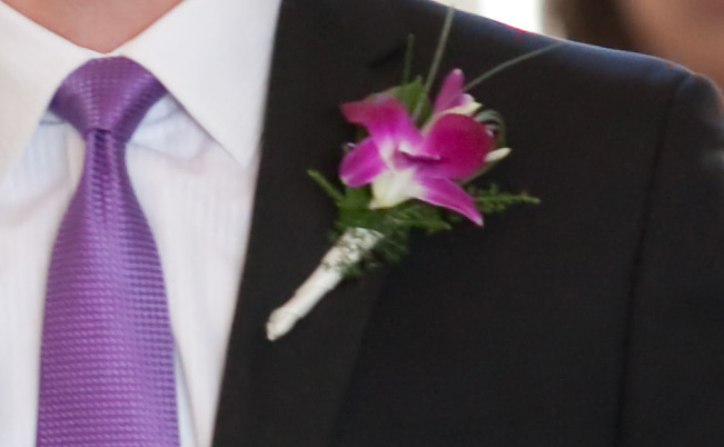Groom's Boutonniere Using a Purple Orchid