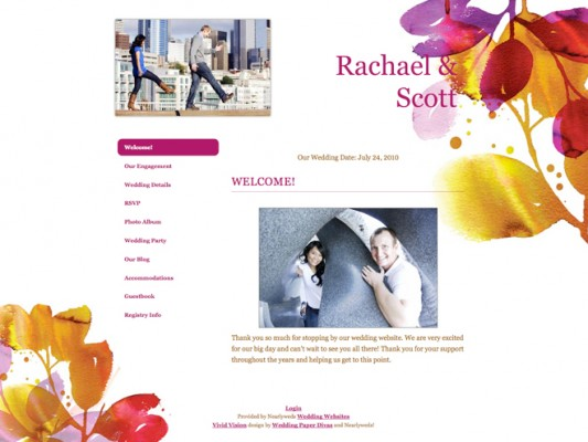 Matching Wedding Website & Invitation from Paper Divas