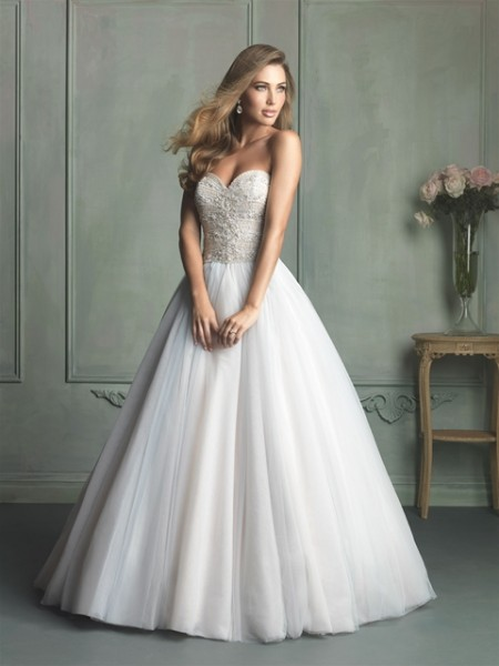 Allure Bridals ball gown wedding dress with beaded bodice and sweetheart neck.