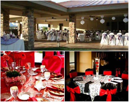 Wedding reception décor options at Bear's Best Las Vegas.