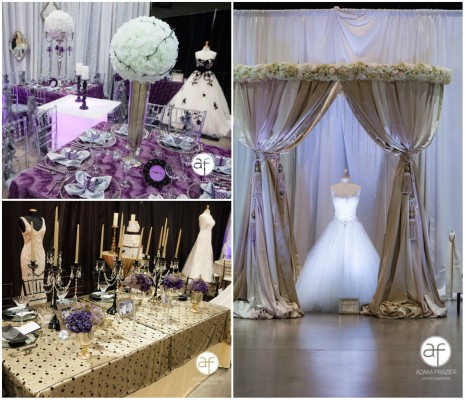 Top Left: Wedding décor by JMT Eventology. Bottom Left: Display by Enchanted Florist & Semper Fi. Right: Inspiration Avenue Flora Couture by Floral 2000.