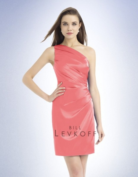 Bill Levkoff charmeuse one shoulder dress with asymmetrical pleats in coral.