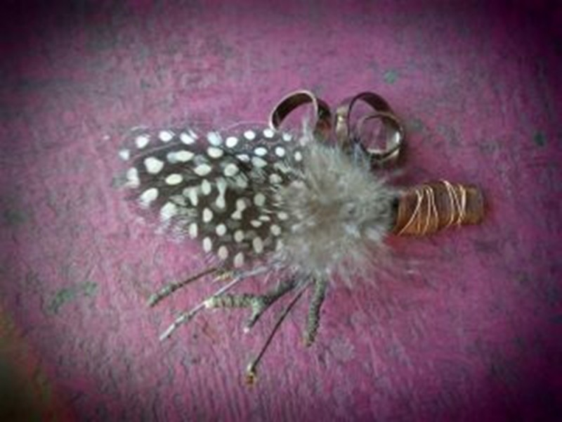 Men's Boutonniere with Feathers