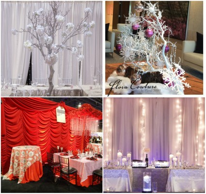 Left: Wedding décor by Jovani Linens & Florals Top Right: décor by Flora Couture by Floral 200 Bottom Right: Wedding décor by Jovani Linens & Florals