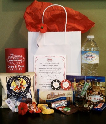 Las Vegas Welcome Bag 344x400 Wedding Planning Tips & Etiquette for Out of Town Guests