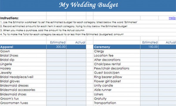 Sample Wedding Budget Tracker