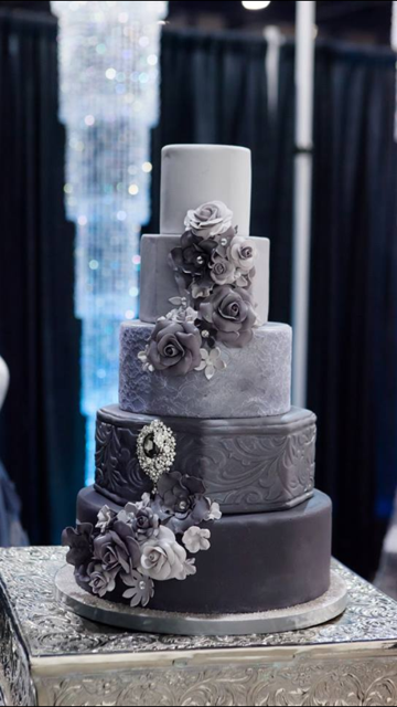 "Sweet Lucy's Confection's ""50 Shades of Grey"" cake from Inspiration Avenue at the 2013 Autumn Bridal Spectacular Show."