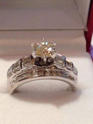 Photo of the actual diamond wedding ring one lucky bride will win from Michael E. Minden Diamond Jeweler.