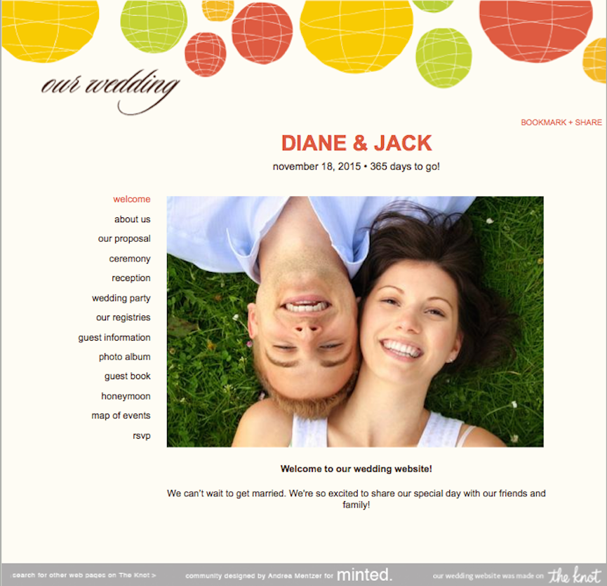 Welcome page for wedding website wording for gifts