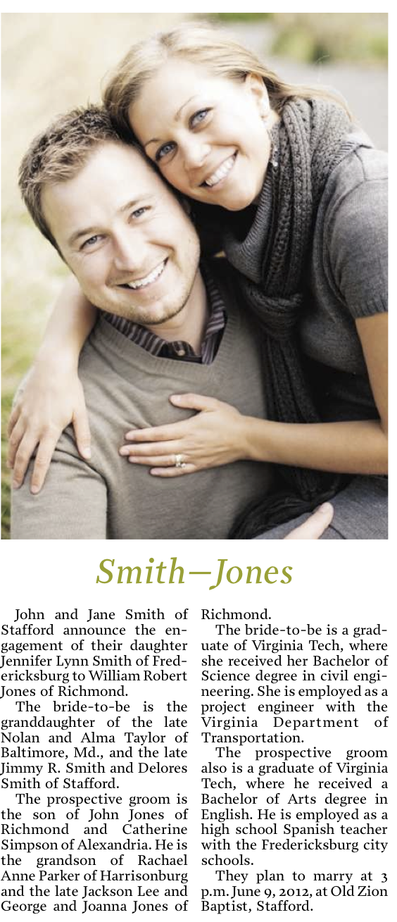 Sample Wedding Announcements For Newspaper