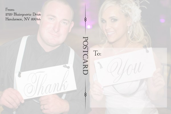Thank you card from 1st Impressions Invitations.