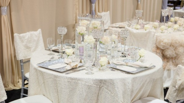 Wedding décor by Jovani Linens & Florals