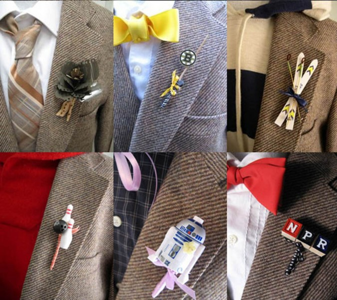 Unique Accents in Groom's Boutonnieres
