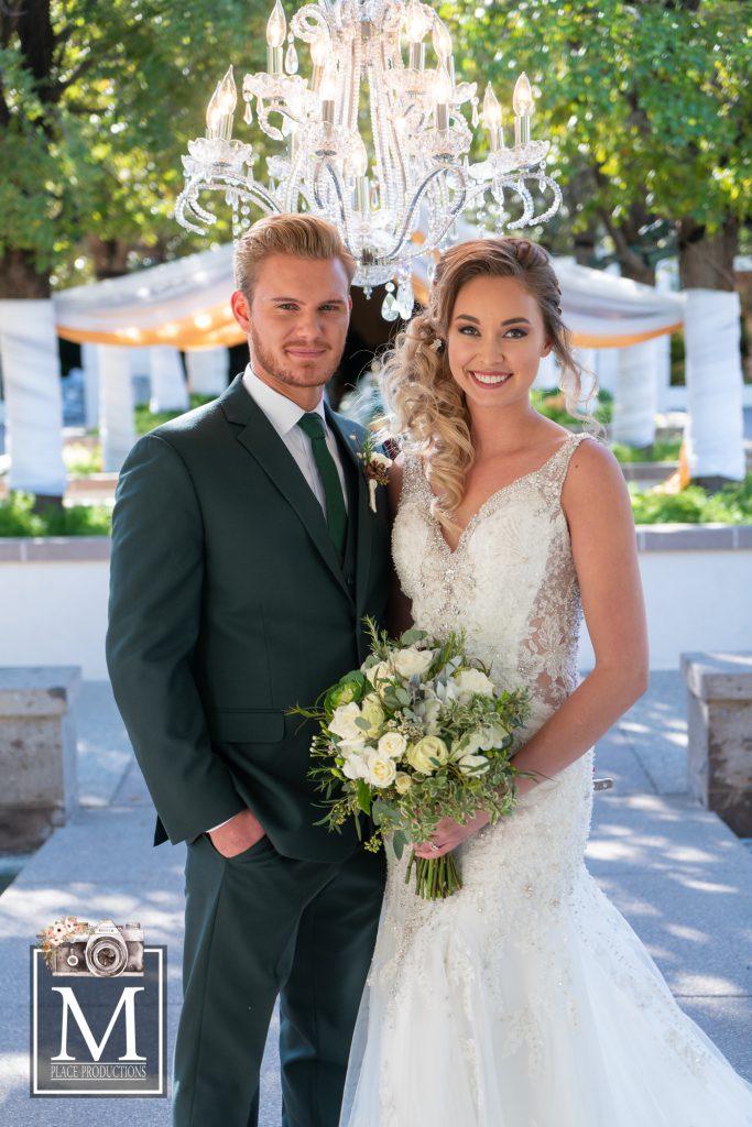 bride groom at alter at Emerald