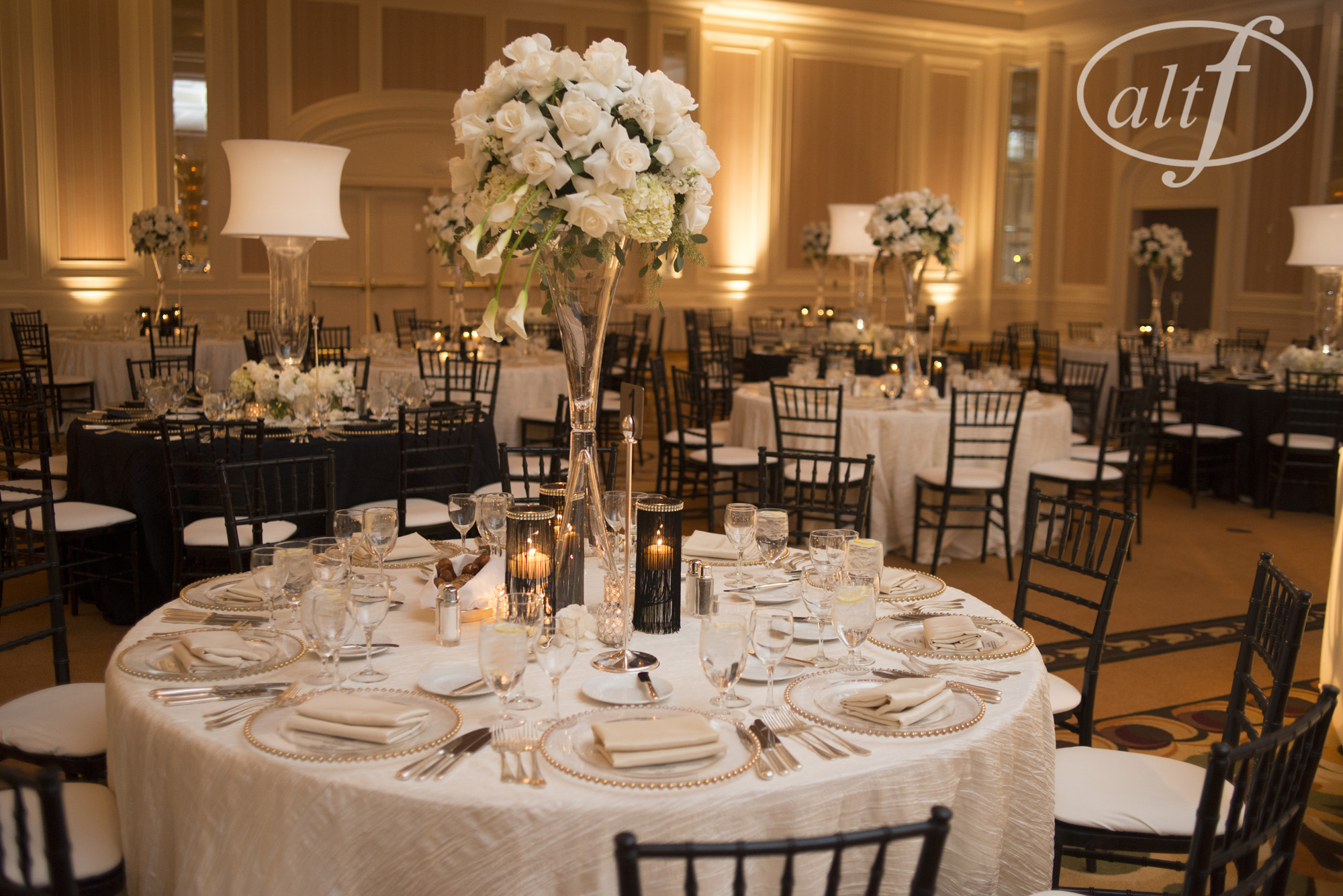 Black And White Wedding Table Setting Las Vegas
