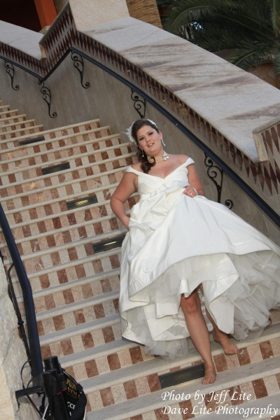 Las Vegas wedding photography, image of bride on staircase