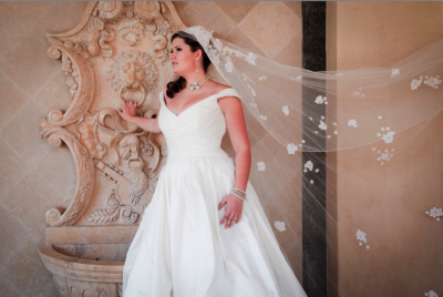 Las Vegas wedding photography, image of bride at fountain