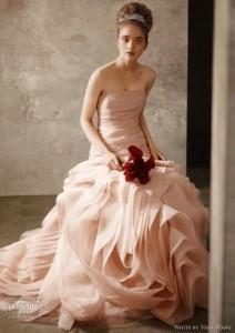 Woman In Blush Bridal Gown With Merlot Calla Lilies